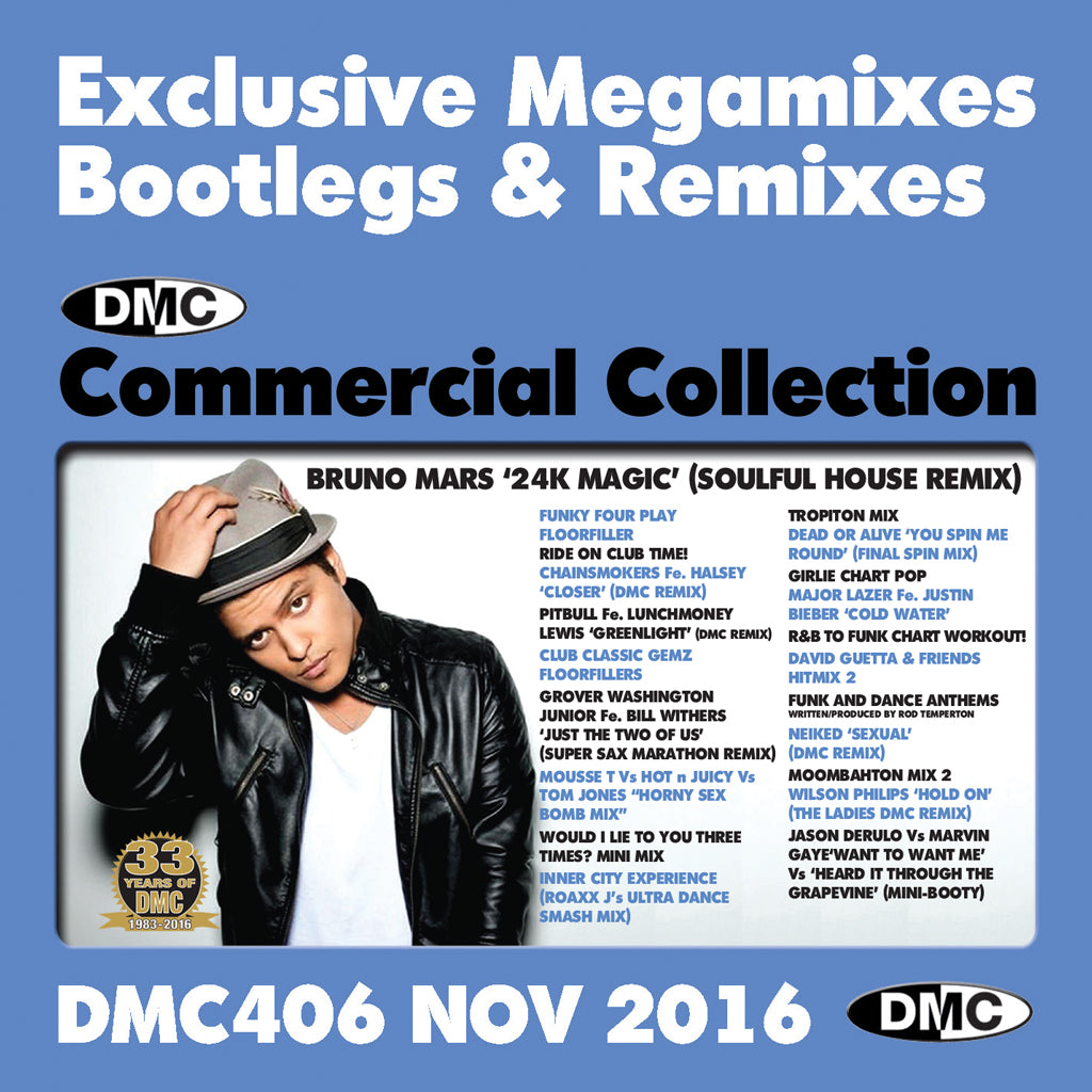 DMC COMMERCIAL COLLECTION 406 - November 2016 Release -  Exclusive... Megamixes Remixes Two Trackers