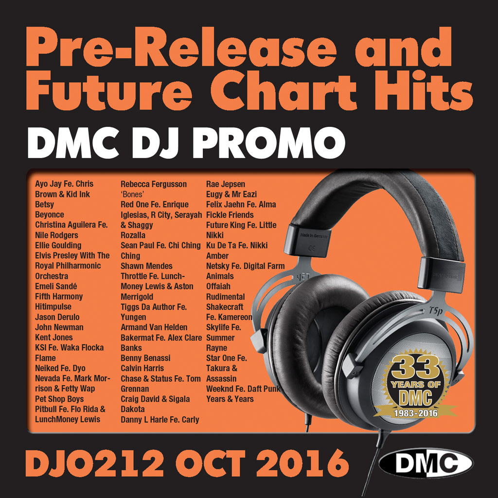 DMC DJ Promo 212 - DOUBLE CD of Pre-Releases and future Chart Hits -  October 2016 Release