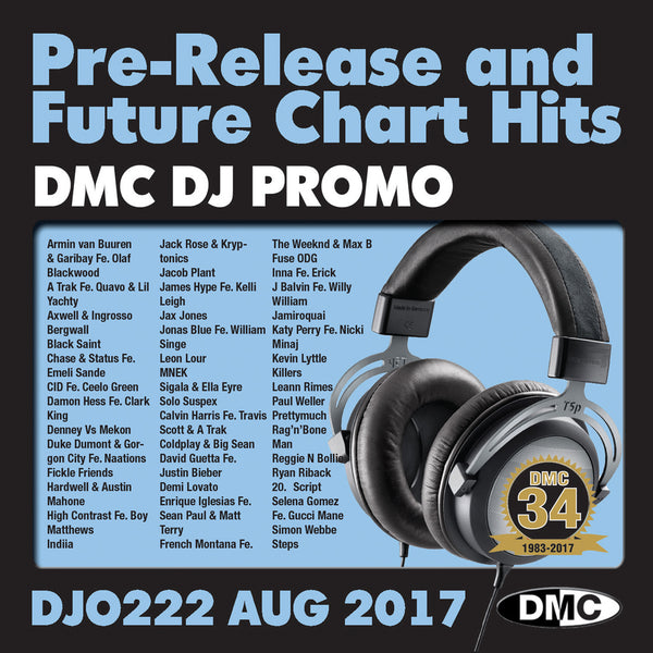 DMC DJ Promo 222 - DOUBLE CD of Pre-Releases and future Chart Hits -  August  2017 Release