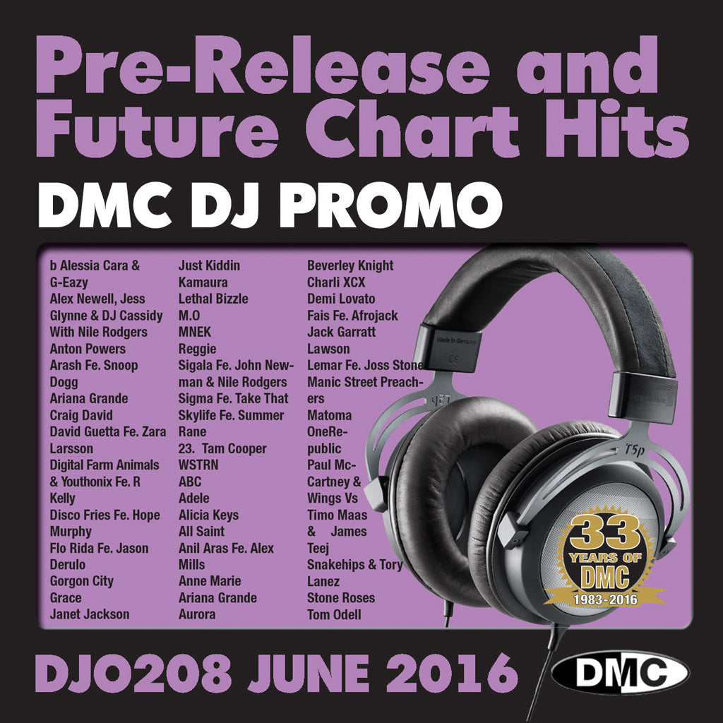 DMC DJ Promo 208 - DOUBLE CD of Pre-Releases and future Chart Hits -  June 2016 Release