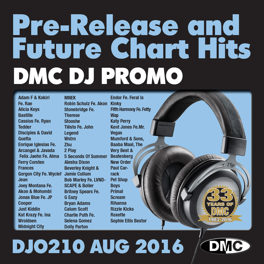 DMC DJ Promo 210 - DOUBLE CD of Pre-Releases and future Chart Hits -  August 2016 Release