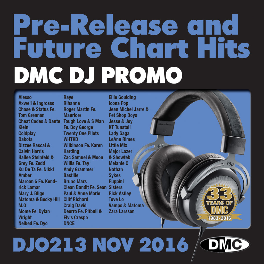 DMC DJ Promo 213 - DOUBLE CD of Pre-Releases and future Chart Hits -  November 2016 Release