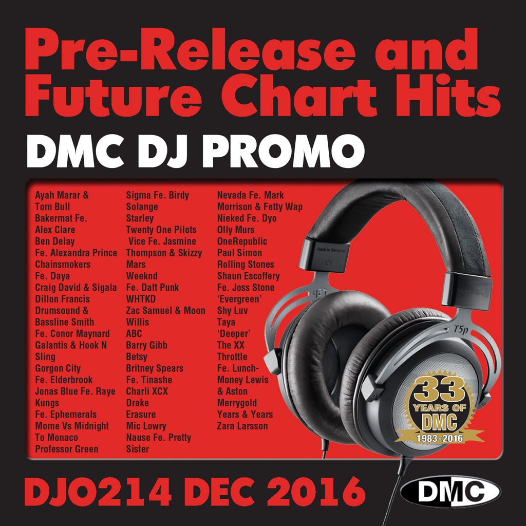 DMC DJ Promo 214 - DOUBLE CD of Pre-Releases and future Chart Hits -  December 2016 Release