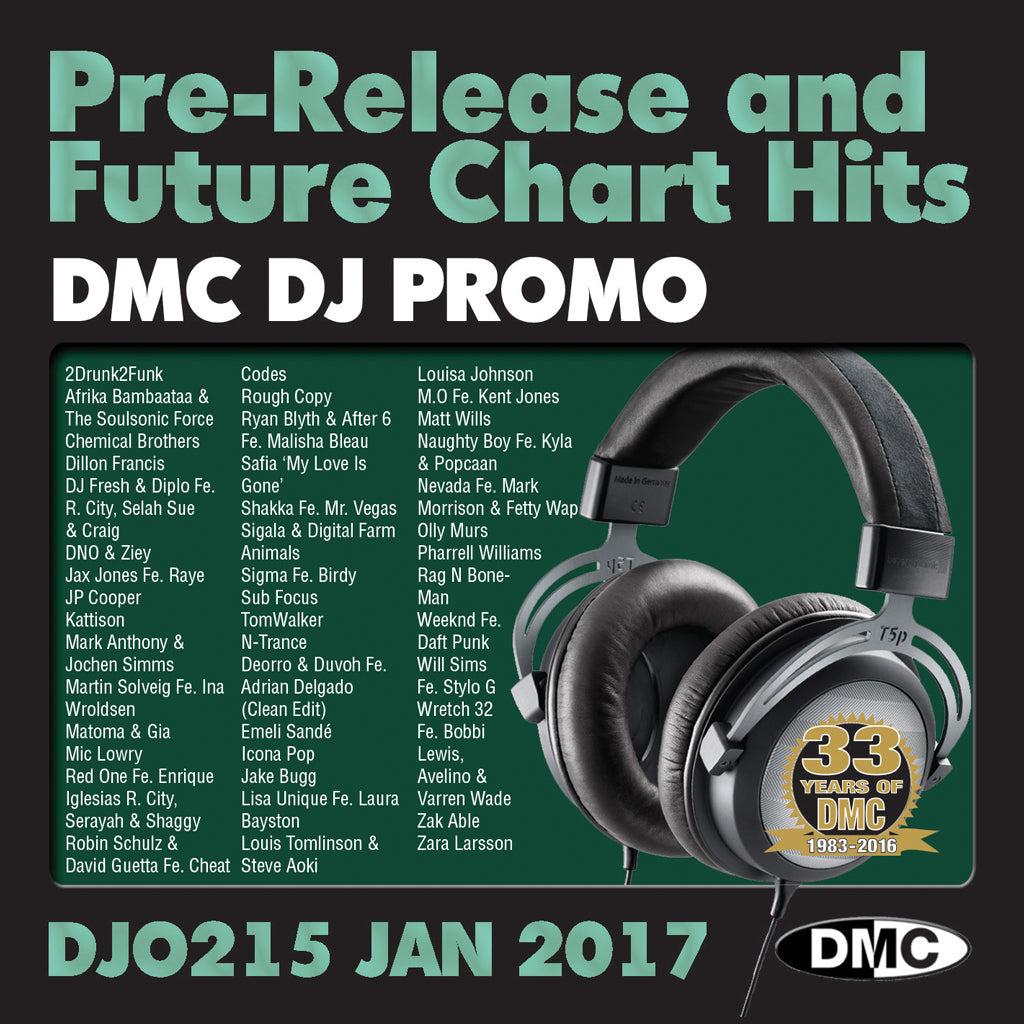 DMC DJ Promo 215 - DOUBLE CD of Pre-Releases and future Chart Hits -  January  2017 Release