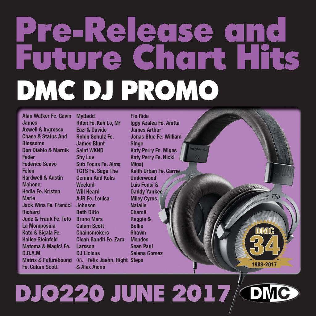 DMC DJ Promo 220 - DOUBLE CD of Pre-Releases and future Chart Hits -  June  2017 Release