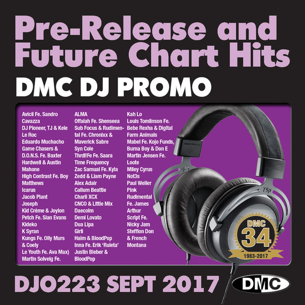 DMC DJ Promo 223 - DOUBLE CD of Pre-Releases and future Chart Hits -  SEPTEMBER  2017 Release