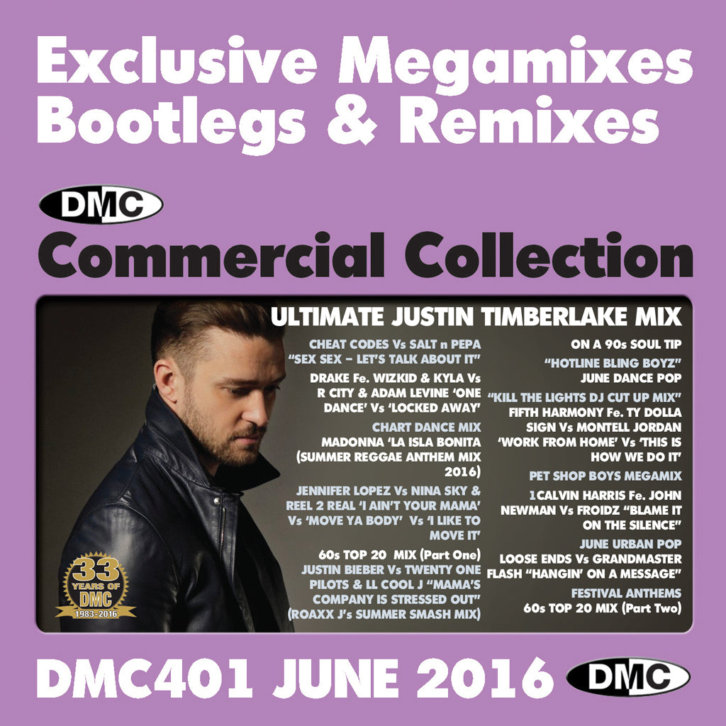DMC COMMERCIAL COLLECTION 401 -  DOUBLE CD of Exclusive Megamixes, Remixes and Two Trackers - June 2016 Release