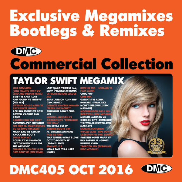 DMC COMMERCIAL COLLECTION 405 - October 2016 Release -  Exclusive... Megamixes Remixes Two Trackers