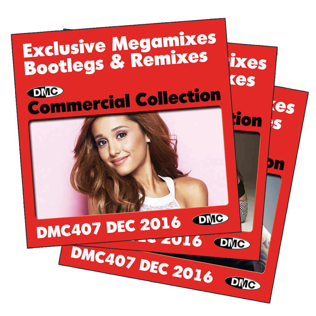DMC COMMERCIAL COLLECTION 407 - December 2016 Release -  Exclusive... Megamixes Remixes Two Trackers - 3 CD Set
