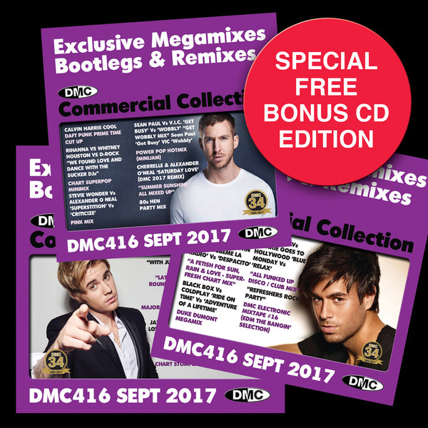 DMC Commercial Collection 416  - September 2017 Release -  3 x CD special bonus disc edition - Exclusive... Megamixes Remixes Two Trackers