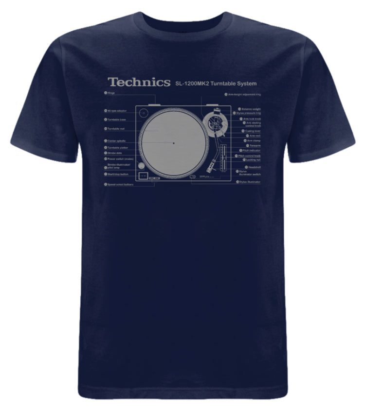 Check Out Technics SL-1200MK2 T-shirt (Navy Blue /Grey print) - New to the store On The DMC Store