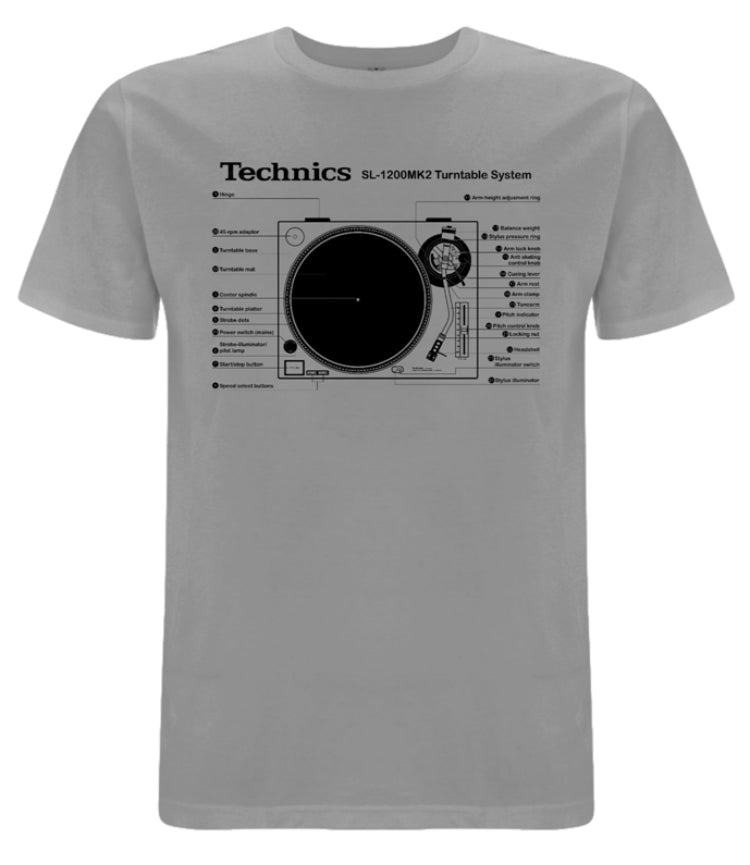 Check Out Technics SL-1200MK2 T-shirt (Grey /Black print) - New to the store On The DMC Store