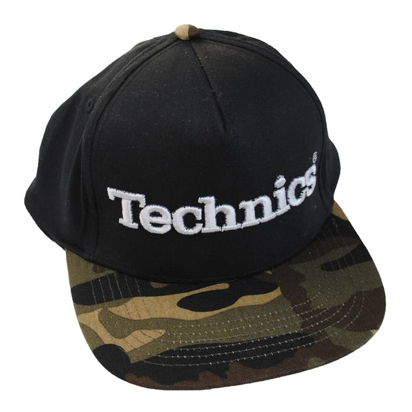 Technics 3d Snapback Cap Black and Jungle Camo