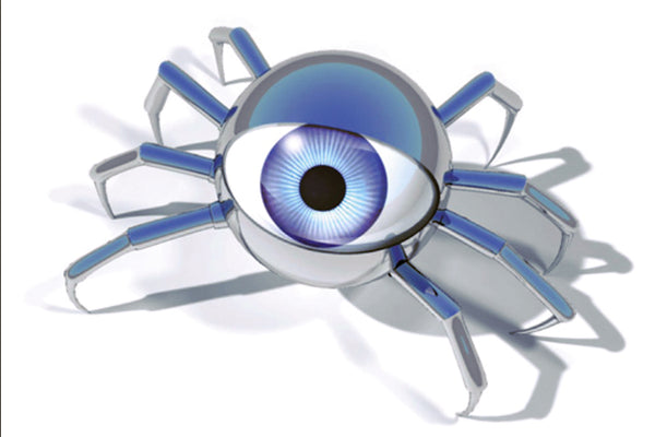Spider Bot Crawling with Blue Eyeball Gazing