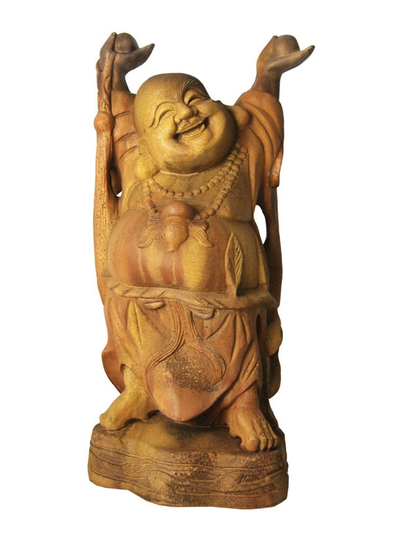 Sandstone Color Hotei or Laughing Chinese Buddha Statue