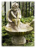 "Pondering Cherub Sitting on Sea Shell 17"" Mossy Finish Bird Bath"