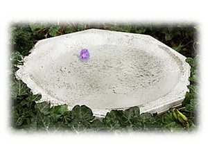 "Medium 4"" Eight Sided Antique White Shallow Bird Bath or Seed Bowl"