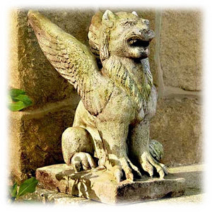 "Mythical Roaring Griffin 15"" Gargoyle Statue in White Moss Finish"