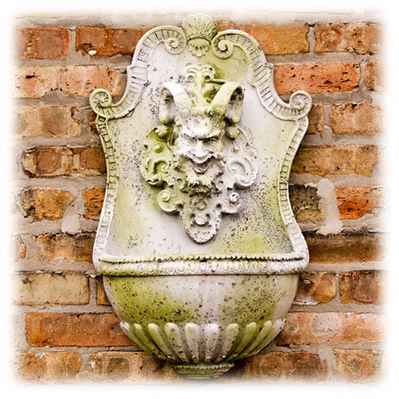 Custom Festival of Bacchus Antique Stone 24 Inch Wall Fountain