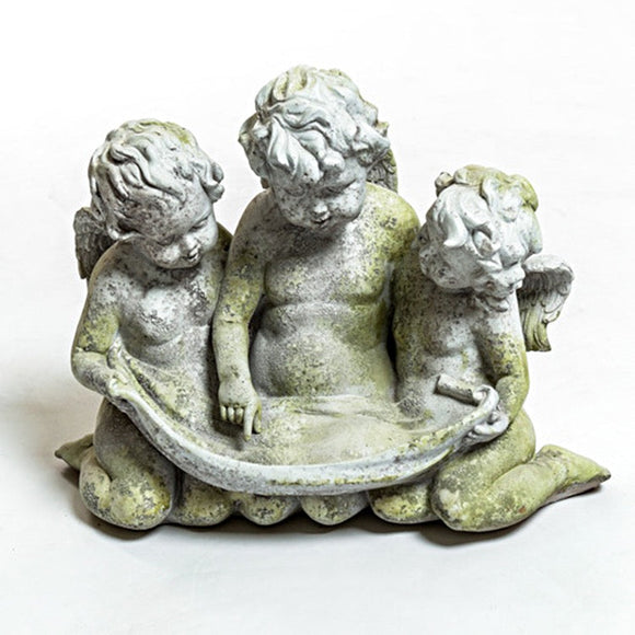 This image from the front of the sculpt shows the three small cherubs looking downward where the bird seed will go, with great intent. The color variations from the finish, and intricate detailing is clearly exhibited.