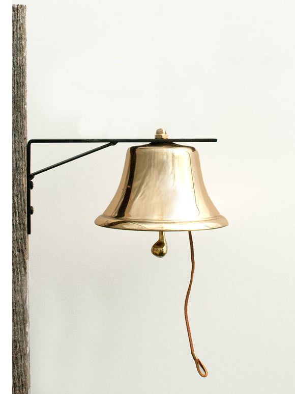 Brass Patio Bell with Iron Mounting Bracket 4-inch diameter