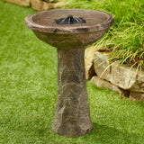 Solar on Demand Bird Bath with Faux Rock Finish and Backup Batteries