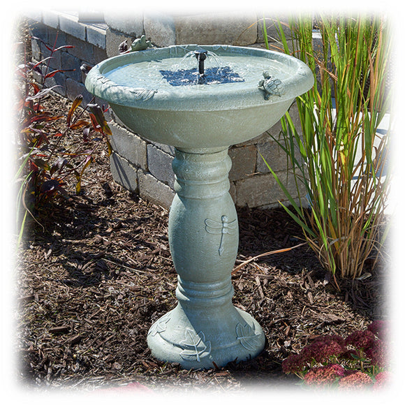 Country Gardens Solar Powered Bird Bath Fountain with Turtles & Dragonflies