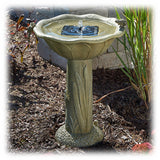 Country Style Olive Green Solar Powered Bird Bath Fountain with Frogs & Cattails
