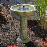 Country Style Green Solar Bird Bath Fountain with Frogs & Cattails
