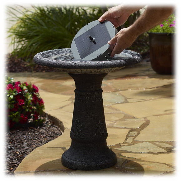 Aquanura Bird Bath to Solar Fountain Insert Kit with Two Fountain Heads