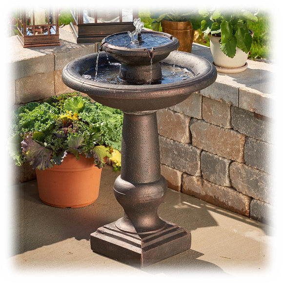 Two Tier Solar Powered Faux Bronze Bird Bath Fountain with Batteries