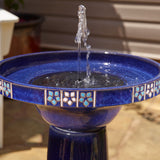 Bright Blue Ceramic Solar Power Fountain with Decorative Floral Tiles
