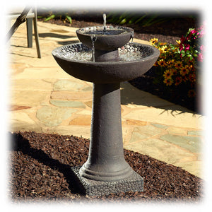 Tiered Brown & Earthstone Solar Powered Bird Bath Fountain with Batteries