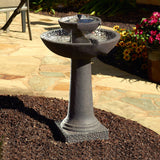 Tiered Earthstone Solar Powered Bird Bath Fountain with Batteries