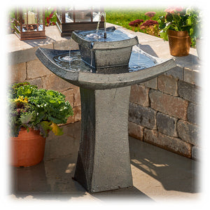 Tiered Zen-inspired Solar Powered Bird Bath Fountain with Backup Batteries