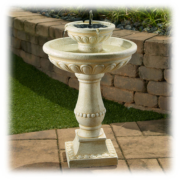 A solar on demand 32-inch high old world European design faux stone bird bath water feature with 2 spray heads