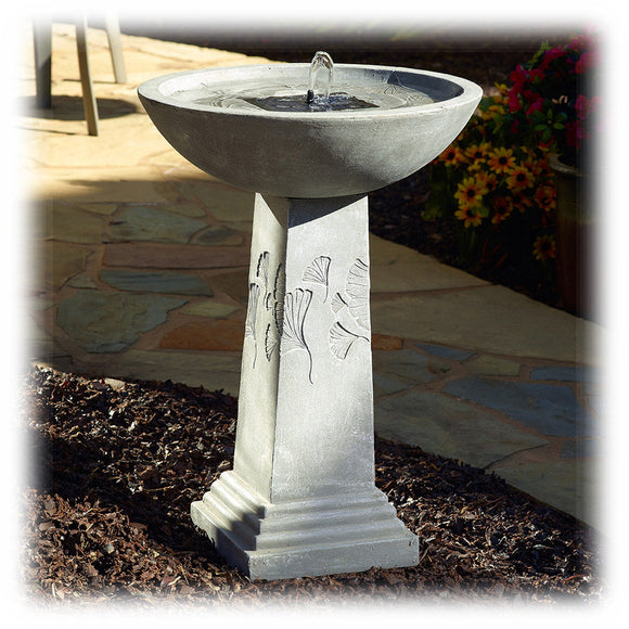 Faux Weathered Graystone Solar Powered Bird Bath Fountain with Backup Batteries