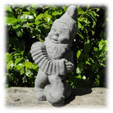 "Happy Garden Gnome Playing His Accordian Decorative 14"" Outdoor Sculpture"