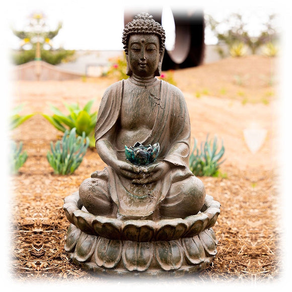 Buddha In Repose with Lotus Flowers Tabletop Fountain with LED Light