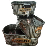 Rustic Old Fashioned 3 Tier Pouring Lighted Tin Garden Bucket Fountain