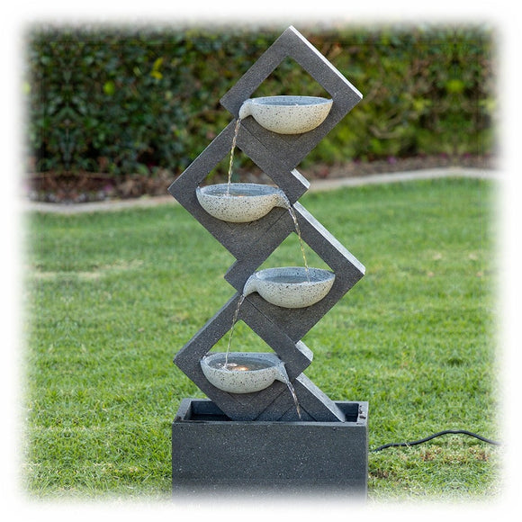 Lighted Four Tier Pouring Bowls Fountain in Dark & Light Gray Finish