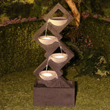 Modern Four Tier Calming Bowls Geometric Lighted Outdoor Fountain