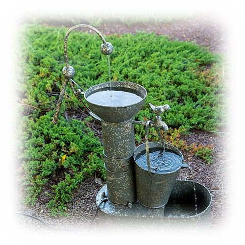 Tiered Country Style Metal Water Pump Outdoor Fountain
