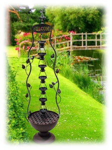 "Tiered 41"" Hanging Cups and Basin Metal Outdoor Water Fountain"