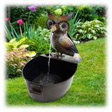 "Wise Woodsy Owl Spitting into Bucket 23"" Metal Outdoor Fountain"