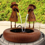 Metal Folk Art Pair of Crow Birds and Tire Basin Outdoor Fountain
