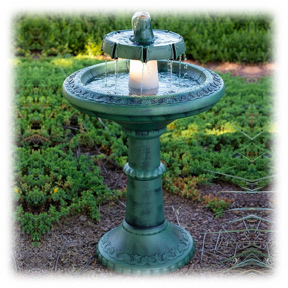 Tall 37-inch polyresin two tiered bird bath style fountain in faux patina finish with halogen light