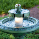 Faux Patina 2 Tier Lighted Polyresin Bird Bath Style Outdoor Fountain