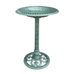 Bird Bath in Light Green Finish with 20-inch perforated edge shallow basin
