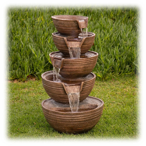 Tiered and Lighted Faux Stone Adobe colored tall pouring outdoor fountain